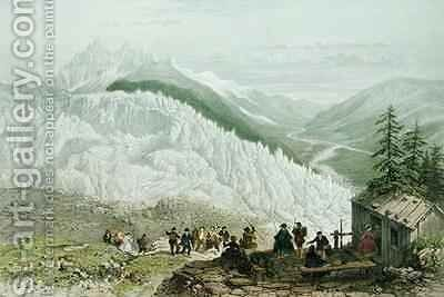 The Glacier and the Chamonix Valley by (after) Benoist, Felix - Reproduction Oil Painting