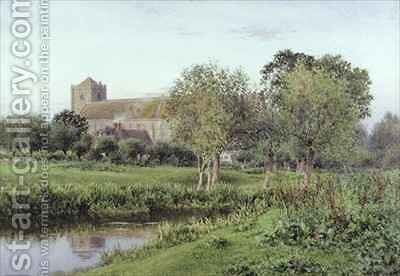 Dorchester Abbey, Near Wallingford, Autumn Evening by Newton Bennett - Reproduction Oil Painting