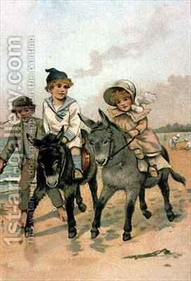 Children Riding Donkeys at the Seaside by Harriet M. Bennett - Reproduction Oil Painting