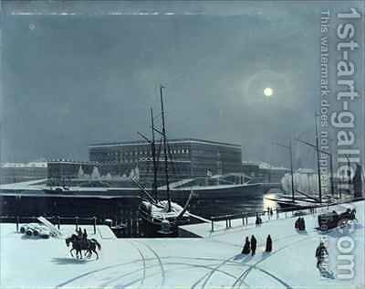 View of the Royal Palace of Stockholm in Winter by Baron Karl-Stefan Bennet - Reproduction Oil Painting