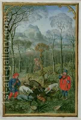 December killing the boar, from a Book of Hours by Simon Bening - Reproduction Oil Painting