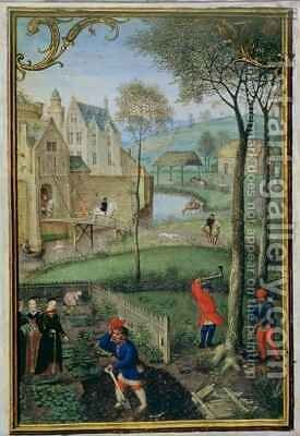 March felling trees, from a Book of Hours by Simon Bening - Reproduction Oil Painting