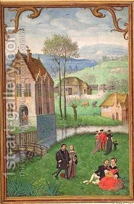 April courting couples, from a Book of Hours by Simon Bening - Reproduction Oil Painting