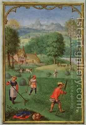 July harvest, sowing, from a Book of Hours by Simon Bening - Reproduction Oil Painting