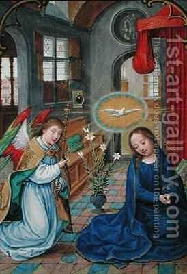 The Annunciation of the Virgin Mary, from the 'Prayer book of Phillip II (1527-98) of Spain' by Simon Bening - Reproduction Oil Painting