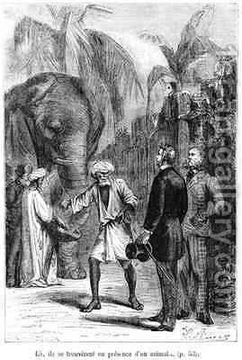 Phileas Fogg in front of an elephant by Hippolyte Leon Benett - Reproduction Oil Painting