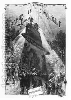 Frontispiece of 'Robur le Conquerant' by Jules Verne (1828-1905) Paris, Hetzel by Hippolyte Leon Benett - Reproduction Oil Painting