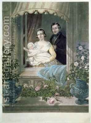 Queen Victoria, Prince Albert and baby at Windsor Castle by Siegfried Detler Bendixen - Reproduction Oil Painting