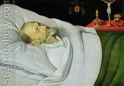 Antoine de Henin, Bishop of Ypres, on his death bed by Jean the Younger Bellegambe - Reproduction Oil Painting