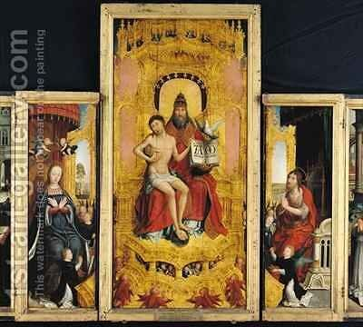 Polyptych of the Glorification of the Holy Trinity, central panel depicting the Trinity, the Virgin and St. John the Baptist by Jean Bellegambe the Elder - Reproduction Oil Painting