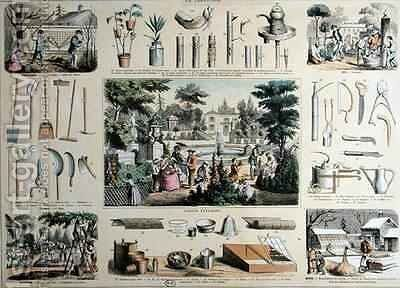 Educational depiction of gardening, with illustrations of garden tools and scenes showing the appropriate activities for each season by Bethmont Belin and - Reproduction Oil Painting