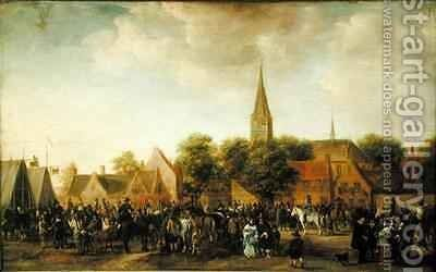 Horse Market at Valkenburg by Sybrand Van Beest - Reproduction Oil Painting