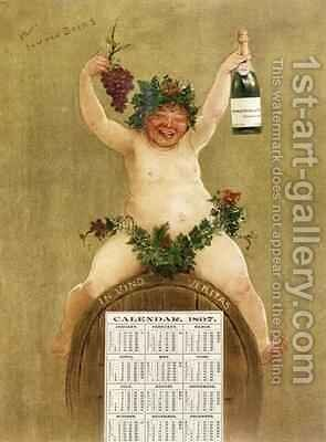 Promotional Calendar for Pfungst Freres Champagne by Jan van Beers - Reproduction Oil Painting