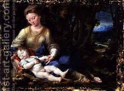 The Virgin and Child in a Landscape by Girolamo Mazzola Bedoli - Reproduction Oil Painting