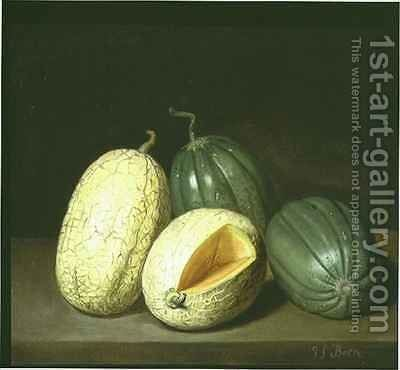 A Still Life with Melons on a Ledge by Jacob Samuel Beck - Reproduction Oil Painting