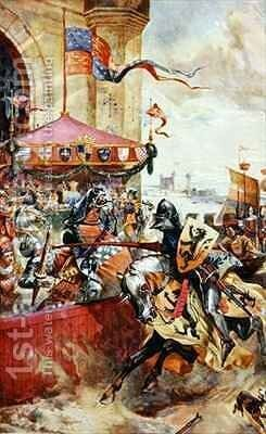 A Joust on Tower Bridge by (after) Beavis, Richard - Reproduction Oil Painting