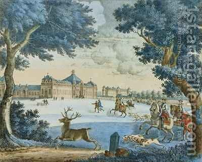 The Duke of Bourbon Hunting Stag at Chantilly by J. Beaufort - Reproduction Oil Painting