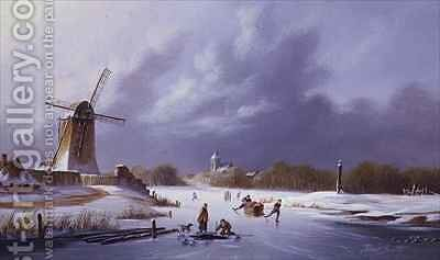 Dutch Frozen River Landscape by David Beatty - Reproduction Oil Painting