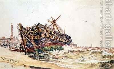 The 'Foudroyant' wrecked at Blackpool by Edwin Beattie - Reproduction Oil Painting