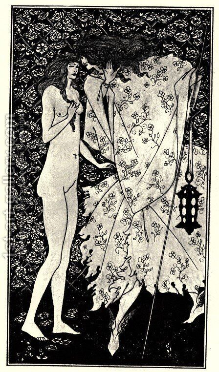 The Mysterious Rose Garden by Aubrey Vincent Beardsley - Reproduction Oil Painting