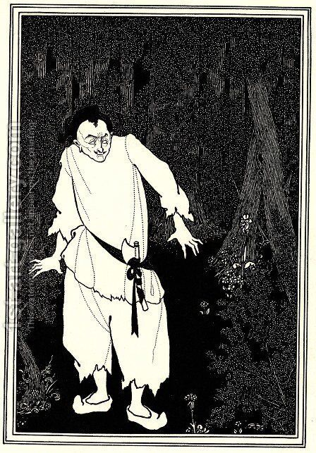 Ali Baba in the Woods by Aubrey Vincent Beardsley - Reproduction Oil Painting