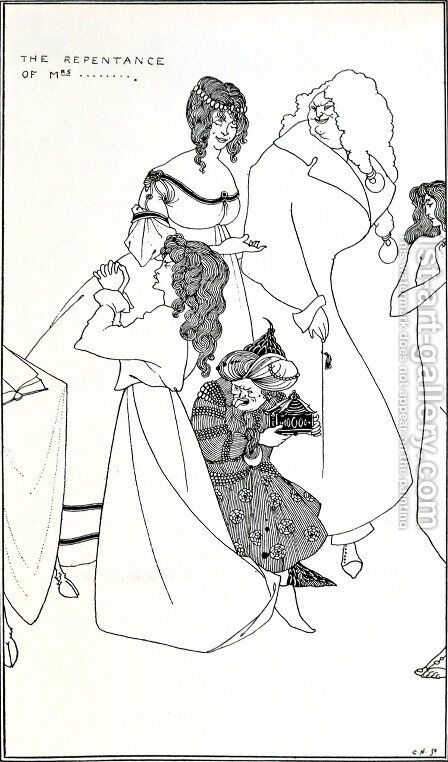 The Repentance of Mrs... by Aubrey Vincent Beardsley - Reproduction Oil Painting