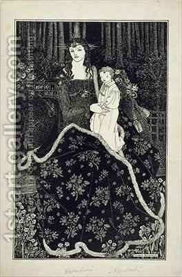 A large Christmas Card by (after) Beardsley, Aubrey - Reproduction Oil Painting
