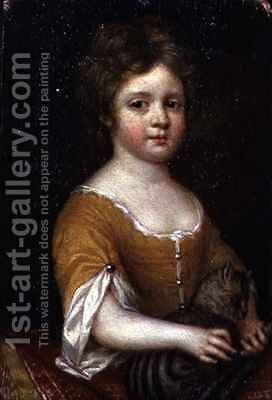 Portrait of a Girl with a Cat by Mary Beale - Reproduction Oil Painting
