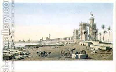 The Dam across the Nile, the building of the Aswan Dam by (after) Bazin, Pierre Joseph - Reproduction Oil Painting