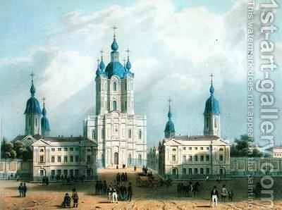 The Smolny Cloister in St. Petersburg, printed by Edouard Jean-Marie Hostein (1804-89) by (after) Bayot, Jean-Baptiste - Reproduction Oil Painting