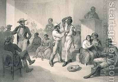 The Sale of Uncle Tom at the Slave Market, plate 9 from 'Uncle Tom's Cabin' by (after) Bayot, Adolphe Jean-Baptiste - Reproduction Oil Painting