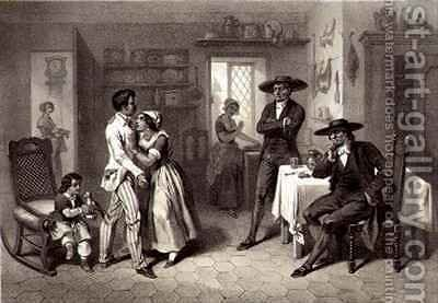George and Eliza with the Quakers, plate 7 from 'Uncle Tom's Cabin' by (after) Bayot, Adolphe Jean-Baptiste - Reproduction Oil Painting