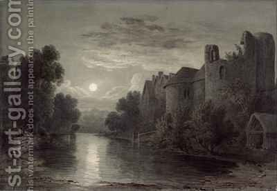 Allington Castle, near Maidstone, Kent, Moonlight by James Baynes - Reproduction Oil Painting