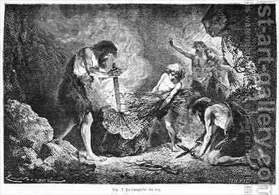 Conquest of fire by (after) Bayard, Emile Antoine - Reproduction Oil Painting