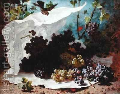 Still Life with Grapes by Charles-Jules-Nestor Bavoux - Reproduction Oil Painting