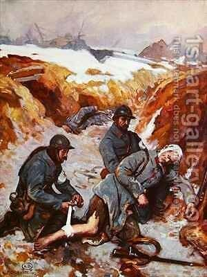 Red Cross Nurse Dressing a Wound during the 1st World War by Charles Baude - Reproduction Oil Painting