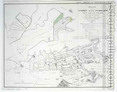 Plan of Sydney with Pyrmont, New South Wales, the latter the Property of Edward Macarthure Esquire Divided into Allotments for Building by James Basire - Reproduction Oil Painting