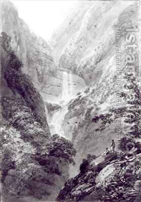 The Cascade of Minzapeezo, watercolour by Samuel Davies after an engraving by (after) Basire, James - Reproduction Oil Painting