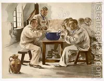 Eating Soup at the Barracks by Jacques Baseilhac - Reproduction Oil Painting