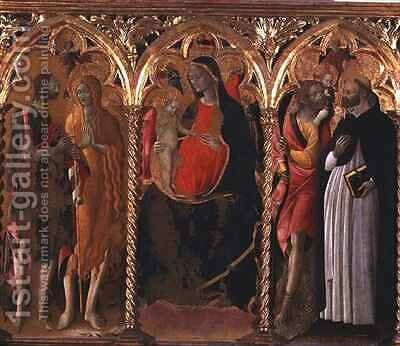 Triptych Madonna and Child (central panel) with St. John the Baptist, St. Mary Magdalene, St. Christopher and St. Dominic by Bartolomeo di Tommaso da Foligno - Reproduction Oil Painting