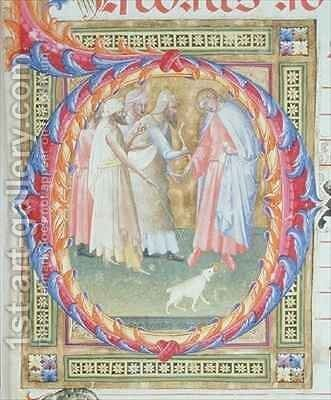 Historiated initial 'O' depicting Tobias and the Angel by Bartolomeo di Frusino - Reproduction Oil Painting