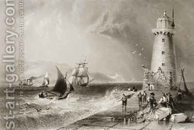 South Wall Lighthouse with Howth Hill in the Distance by (after) Bartlett, William Henry - Reproduction Oil Painting