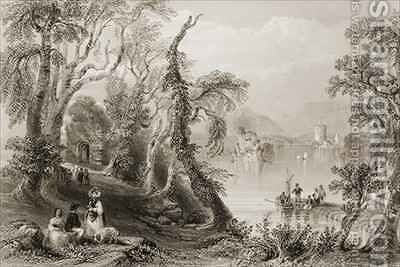 Innisfallen, Killarney Lake, County Killarney by (after) Bartlett, William Henry - Reproduction Oil Painting