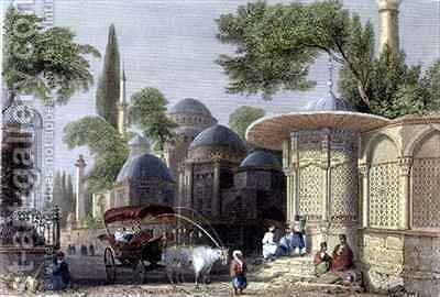 Fountain and Mosque of Chahzade by (after) Bartlett, William Henry - Reproduction Oil Painting