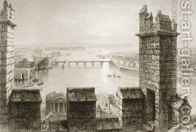 The River Shannon and Limerick from the Cathedral Tower, County Limerick by (after) Bartlett, William Henry - Reproduction Oil Painting
