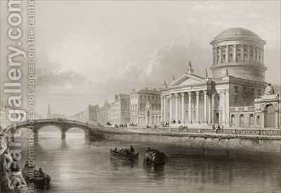 The Four Courts, Dublin by (after) Bartlett, William Henry - Reproduction Oil Painting