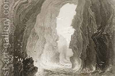 Dunkerry Cave, County Antrim, Northern Ireland by (after) Bartlett, William Henry - Reproduction Oil Painting