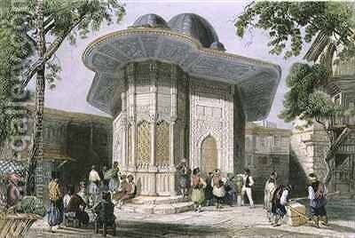 Fountain in Galata, Istanbul by (after) Bartlett, William Henry - Reproduction Oil Painting