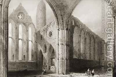 Interior of Hore Abbey, The Rock of Cashel, County Tipperary, Ireland by (after) Bartlett, William Henry - Reproduction Oil Painting