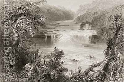 Salmon Leap at Leixlip, County Kildare by (after) Bartlett, William Henry - Reproduction Oil Painting